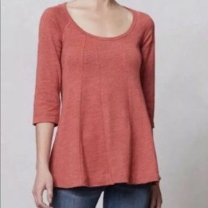 Anthropologie Deletta Coral 3/4 Sleeve Top